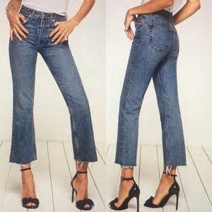 Reformation Mid Rise Crop Flare Jeans Raw Hem 25